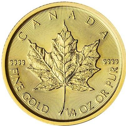 Kanadyjski Liść Klonowy 1/4 uncji złota